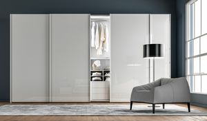 ZERO, Wardrobe with sliding doors, melamine and glass