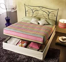Aladdin Double, Double bed with metal headboard, with container