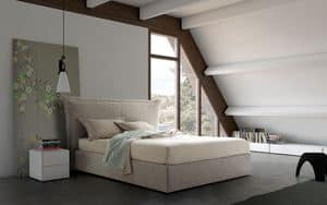 Aladino, Double bed with upholstered headboard and tall sommier