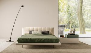 ALBA, Double bed with headboard in fabric