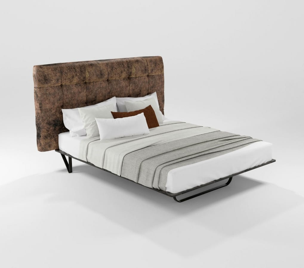 Augusto, Bed with upholstered or guilted headboard