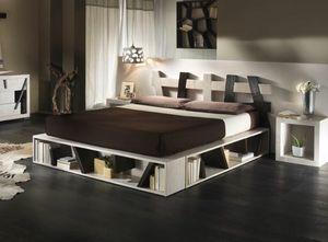 Bed cross black white, Ethnic bed with bed frame with container