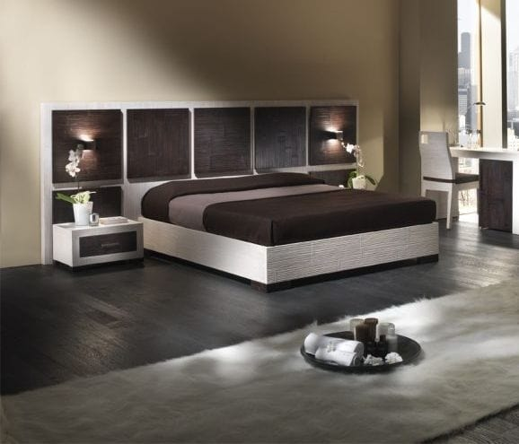 Bed Dubai, Bed with wooden headboard, ethnic style