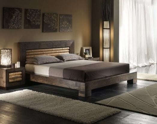 Bed rumba tiger 2, Ethnic style bed with decorated headboard