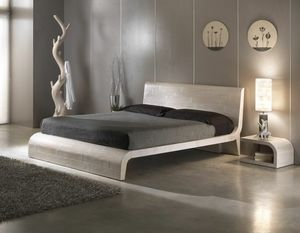 Bed Wave, Ethnic style bed with wooden headboard