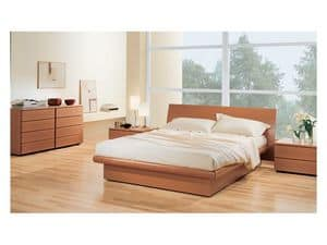 Bedroom 36, Bedroom with storage box bed, in wood Tanganyika walnut, matchable with chest of drawers and bedside tables