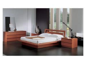Bedroom 49, Bed with container, in wood cherry finish, for contemporary bedrooms
