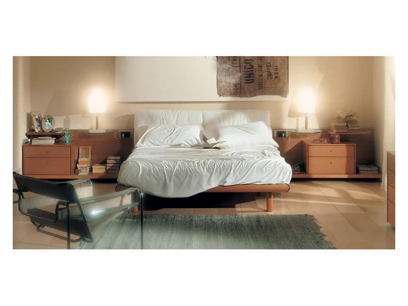 Bedroom 93, Bed with padded headboard, wooden structure in cherry finish, sliding shelves