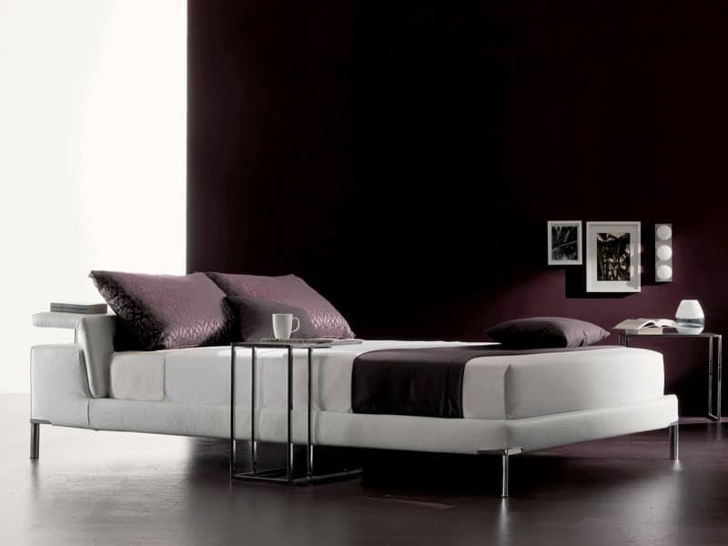 Cleò, Bed with headboard with padded shelf, removable covering