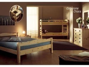 Collection Chiara, Rustic pine wood bed, for chalets