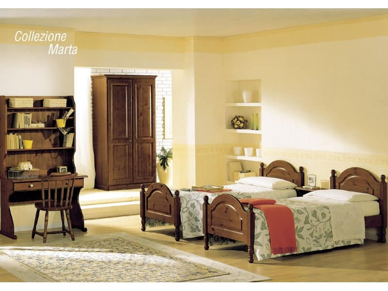 Collection Marta, Bed with wood headboard and footboard, rustic style