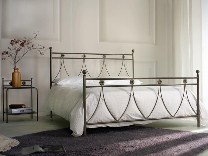 Crystal, Classic double metal bed, for Bedroom