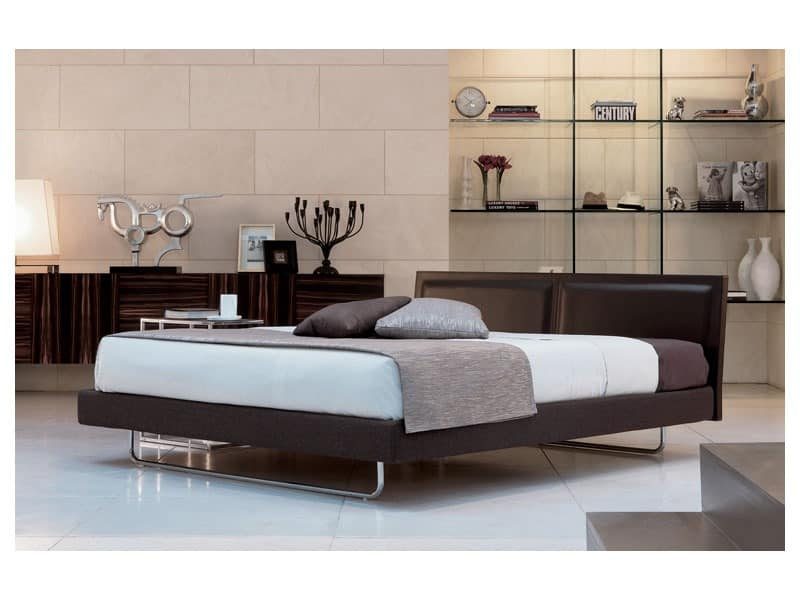Deex, Modern bed with leather headboard, orthopedic wooden slats