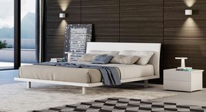 DIVADUE, Bed with lacquered or oak structure