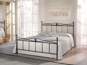 Double bed Albatros, Bed in iron tubular with floral decorations, retrò design