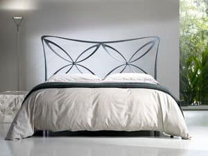 Double bed Alice, Bed with iron headboard, light style, various finishes