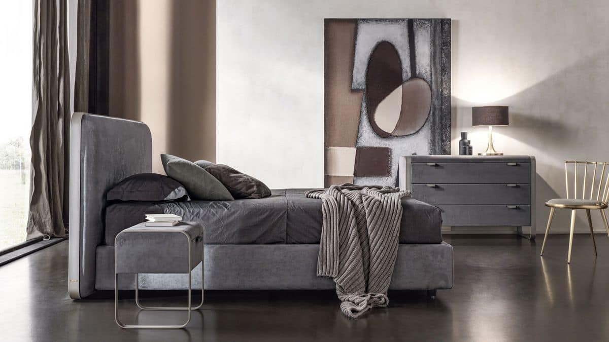 Elvis, Contemporary double bed with upholstered headboard