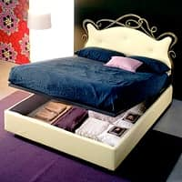 Florenzia, Double bed in wrought iron, leather covering