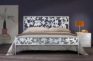Flower Double Bed, Iron double bed with floral laser cut decorations