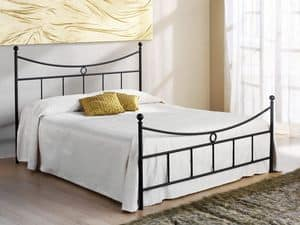 Gabbiano Double Bed, Bed with iron headboard, for hotels and homes