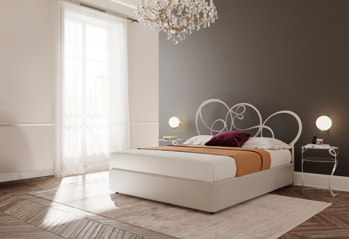 Gerico, Double bed with iron structure, for classic bedrooms