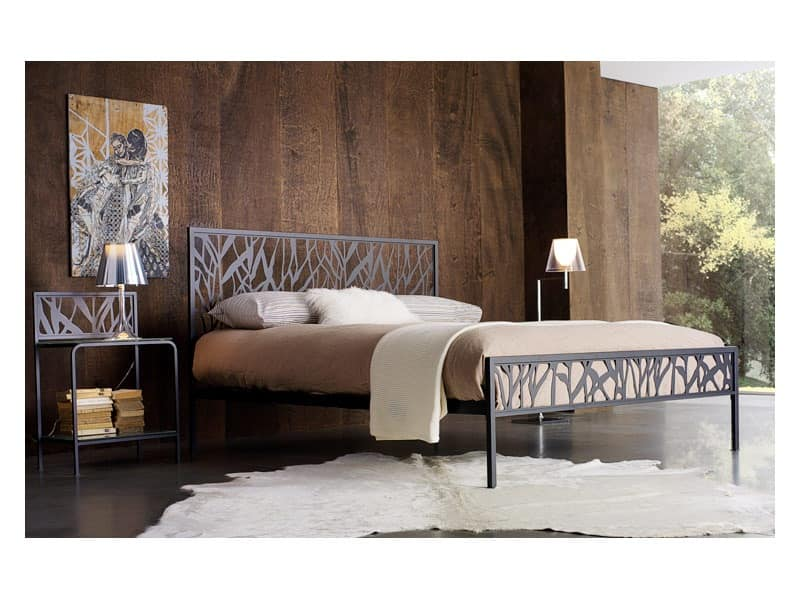 Green Double Bed, Metal double bed with abstract motifs