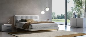 KELLY, Bed with headboard made of faux leather, with LED light
