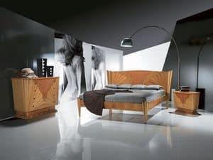 LE05 Fusion, Wooden bed with inlay, available in walnut color