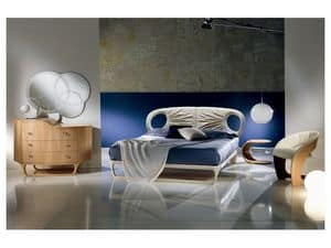 LE14 Iride bed, Leather bed, handmade, light and dynamic style