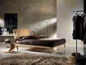 LE16 Iride, Wooden bed, headboard inlaid with geometric motifs