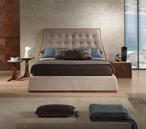 LE23 Contemporary bed, Bed made of canaletto walnut, upholstered, various finishes