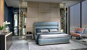 LE29 Galileo bed, Bed with upholstered structure and headboard
