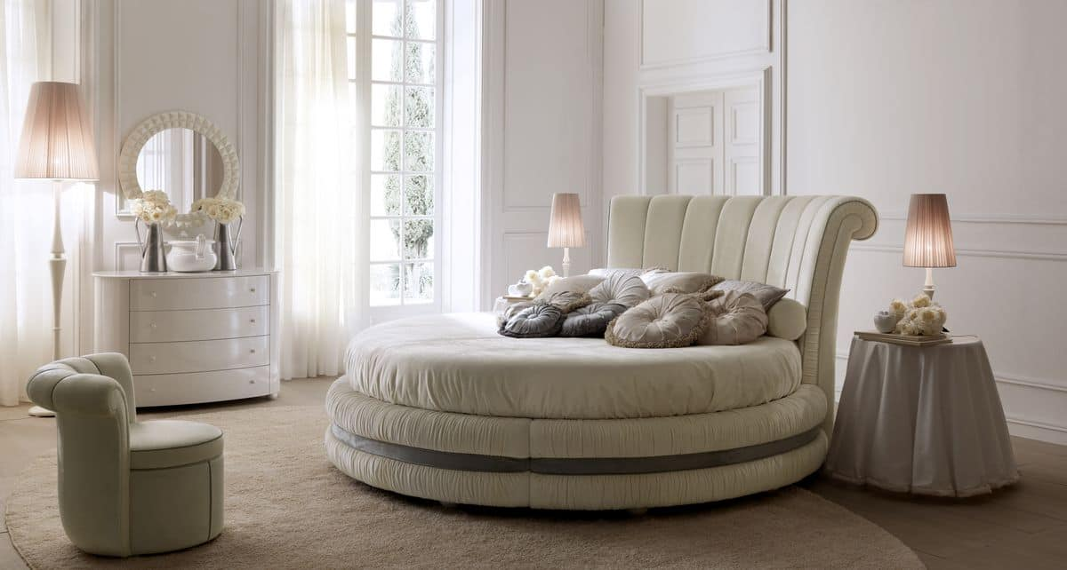 Luxury Round Bed Upholstered In Leather Or Fabric For