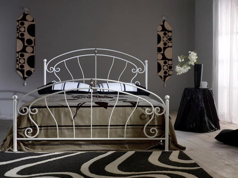 Mistral, Wrought iron bed with brass casting and ceramic insert