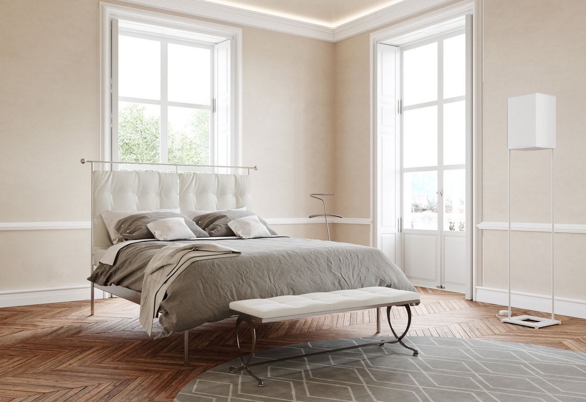 Mozart, Modern iron double bed with upholstered headboard