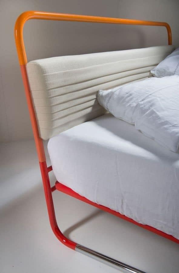 Nettuno, Bed modern tubular orange and upholstered headboard