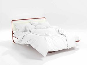 Nettuno, Bed modern tubular orange and upholstered headboard
