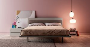 OLIMPIA, Double bed with headboard made of faux leather