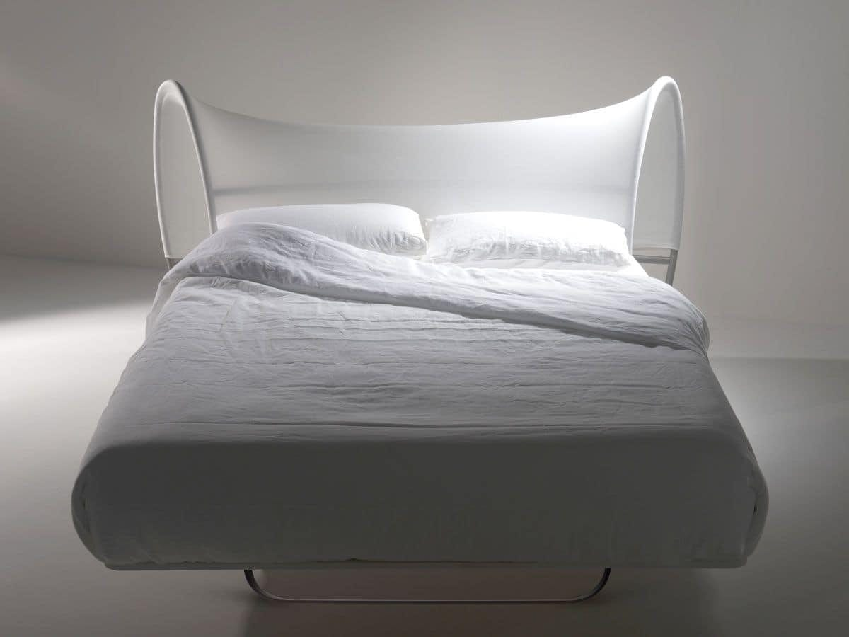 Onda Due, Contemporary double bed in tubular, three-dimensional head