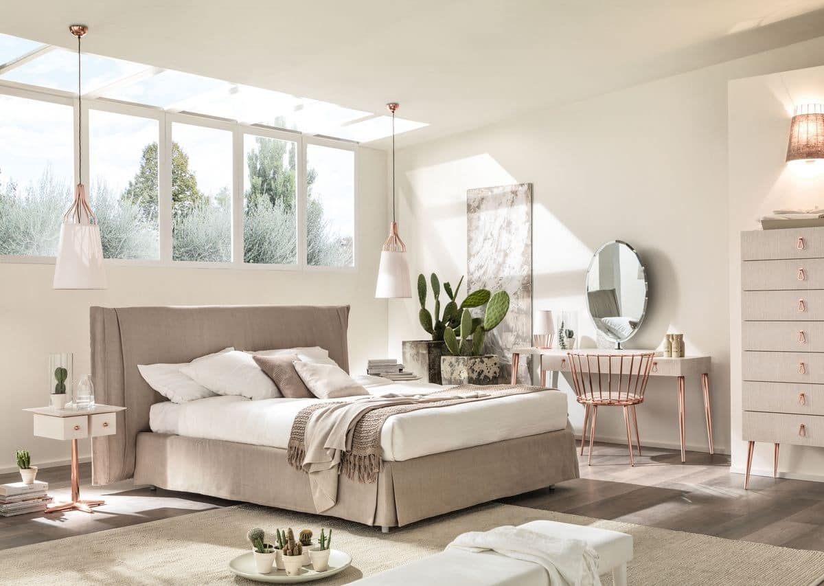 Orazio, Contemporary double bed, padded, for bedrooms