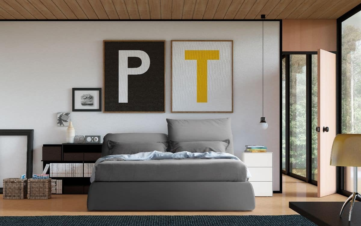 Oriente, Upholstered bed, folding headboard, for Bedroom
