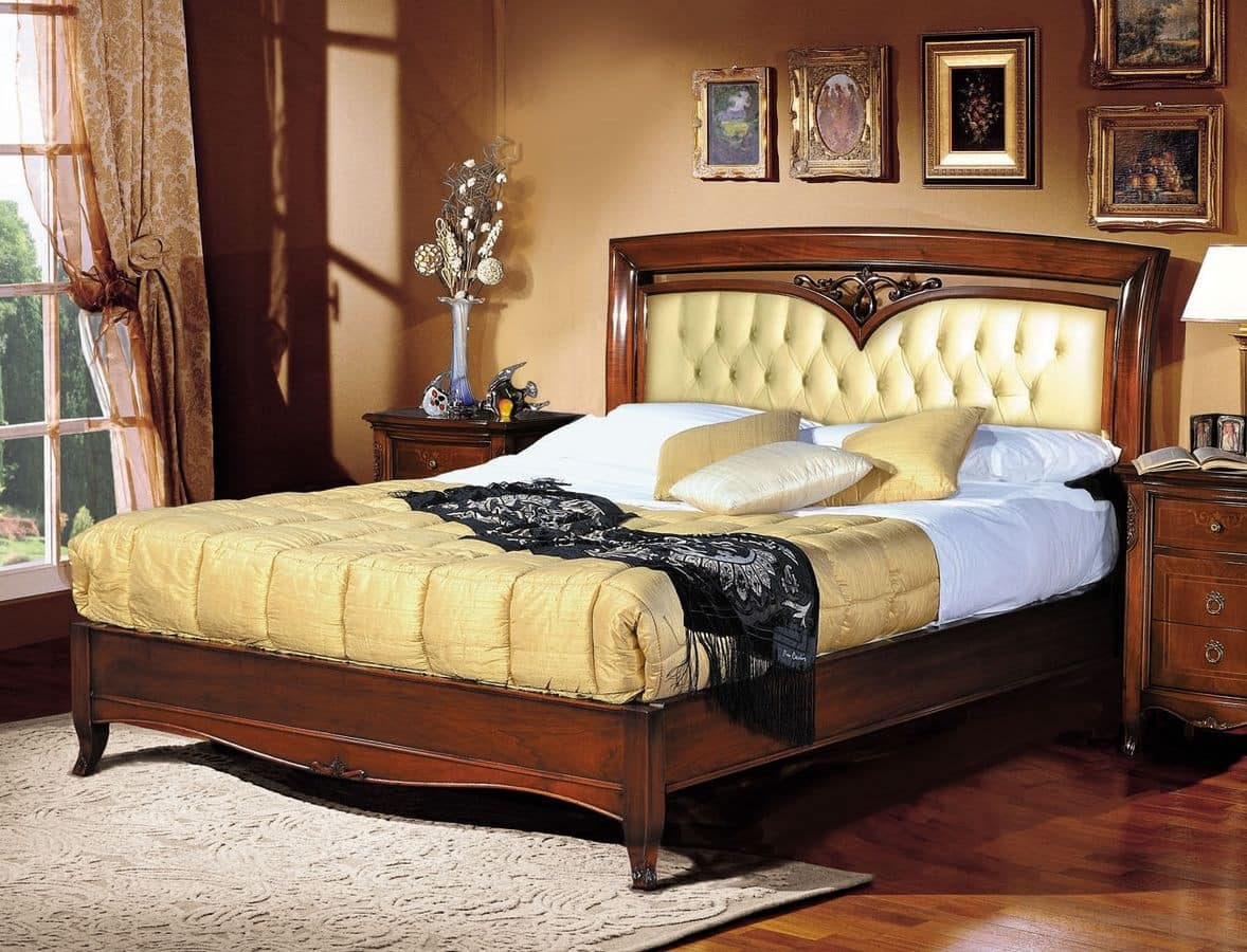 Praga bed, Luxury classic bed, upholstered tufted headboard