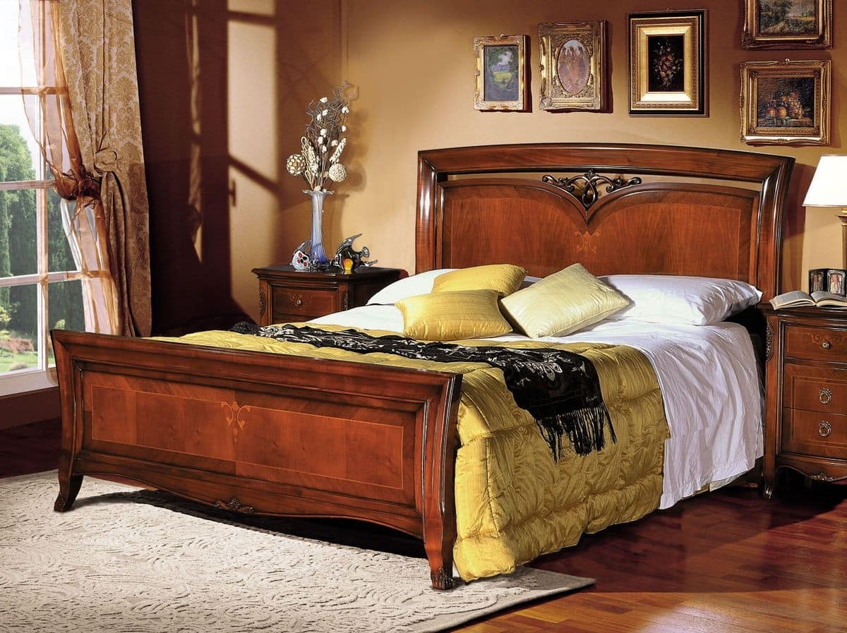 Praga wooden bed, Classic double bed in wood inlaid by hand