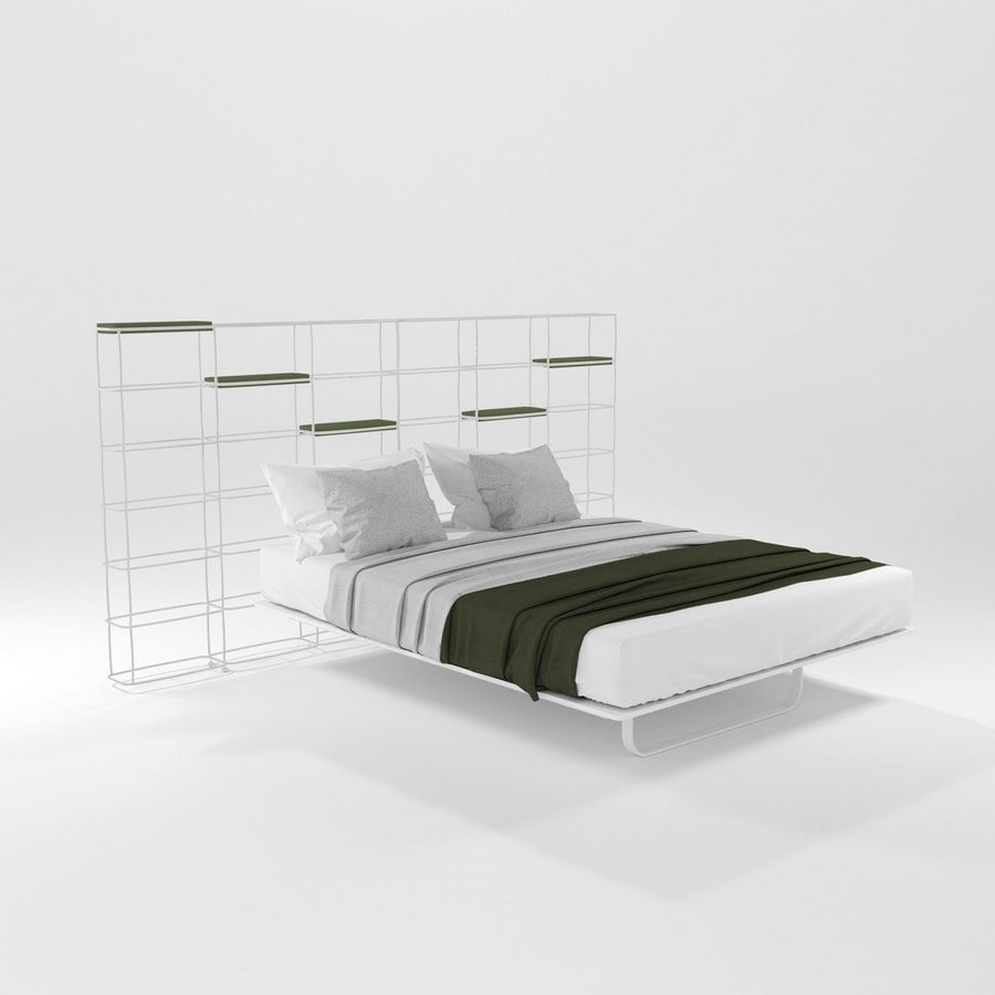 Rettangolo, Bed with bookcase headboard ideal for modern apartments