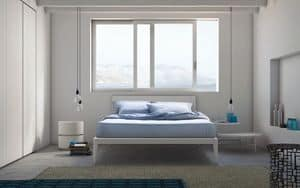 Spillo bed, Wooden bed with slender lines, for hotels and bedrooms