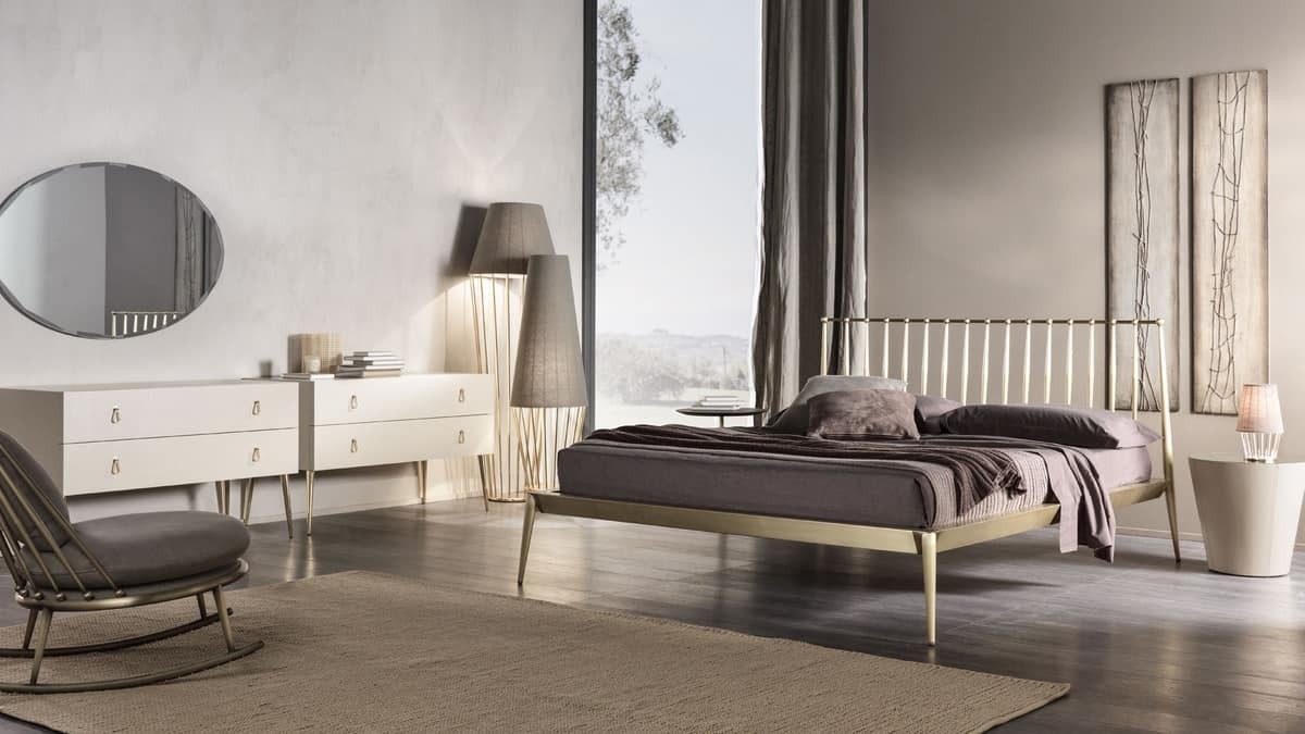 Urbino bed, Bed in tapered metal, screw assembly