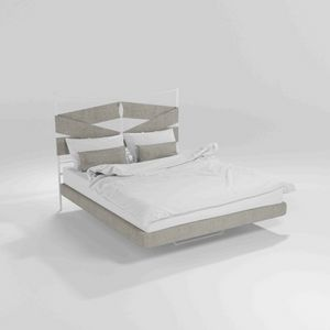 Young, Modern bed with metal frame and wooden legs