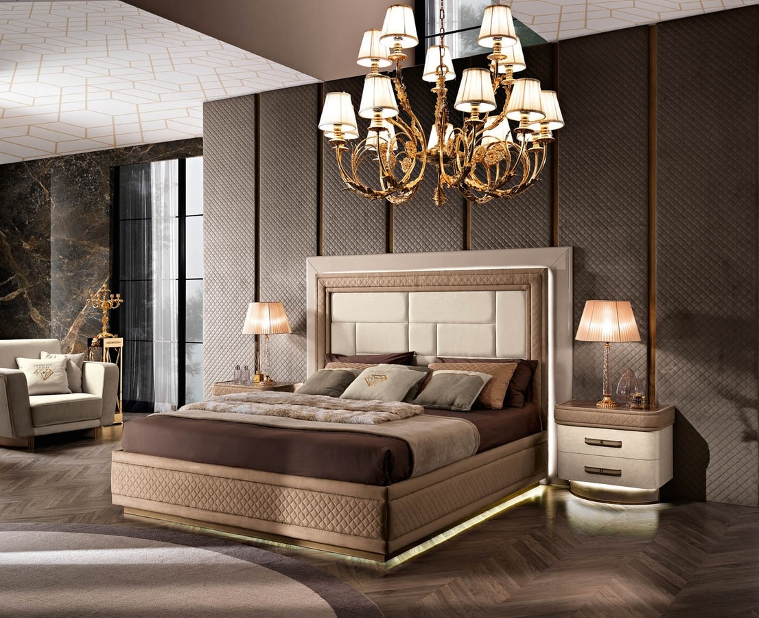 Diamond bed, Luxurious upholstered bed