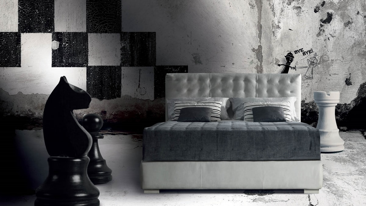 Fiji, Bed with high quilted headboard