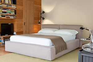 KING, Bed with container with upholstered bed frame